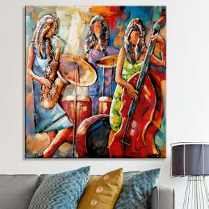 Sisters of Jazz Picture Metal Wall Art In Multicolor And Red