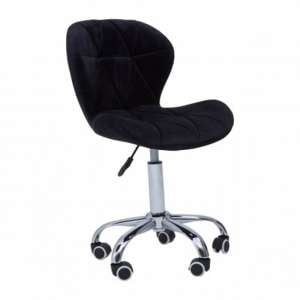 Sitoca Velvet Home And Office Chair In Black With Swivel Base
