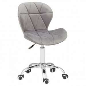 Sitoca Velvet Home And Office Chair In Grey With Swivel Base