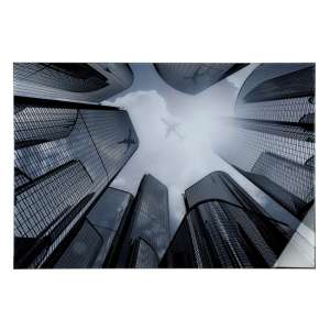 Skyline Picture Acrylic Wall Art In Black And Grey