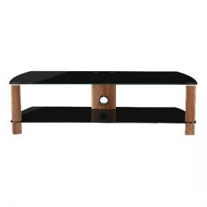 Sligo Large LCD TV Stand In Black Glass And Walnut