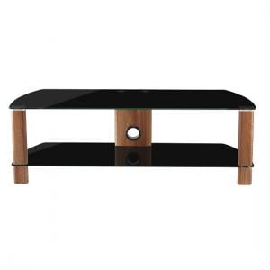 Sligo Small LCD TV Stand In Black Glass And Walnut
