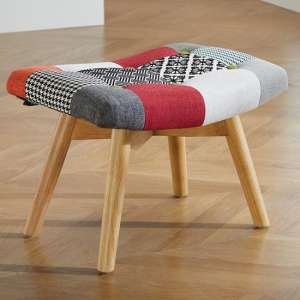 Sloane Fabric Foot Stool In Patched
