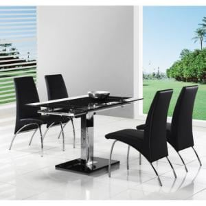 Enke Extendable Dining Table with 4 G614 Dining Chairs