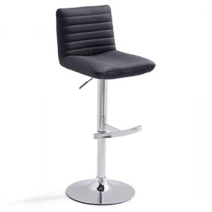 Snow Bar Stool In Black Faux Leather With Round Chrome Base
