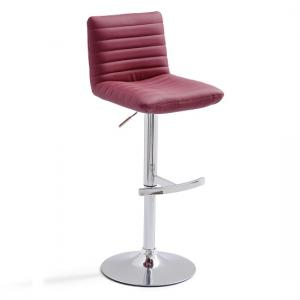 Snow Bar Stool In Bordeaux Faux Leather With Round Chrome Base