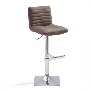 Snow Bar Stool In Brown Faux Leather With Square Chrome Base