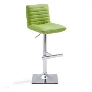 Snow Bar Stool In Green Faux Leather With Square Chrome Base