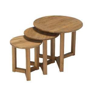 Snowden Wooden Nest of 3 Tables Round In Oak