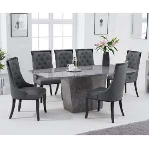 Snyder Marble Dining Table In Grey With Eight Tulip Chairs