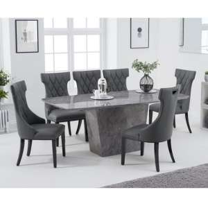 Snyder Marble Dining Table In Grey With Eight Tybrook Chairs