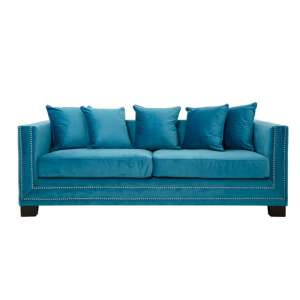 Sofia 3 Seater Velvet Sofa In Cyan Blue