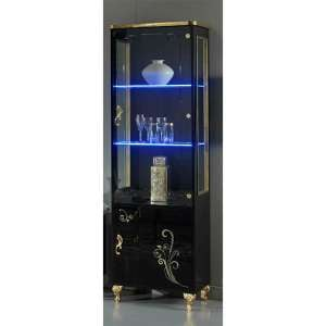 Sofina Gloss Display Cabinet In Black And Gold With 2 Doors And LED