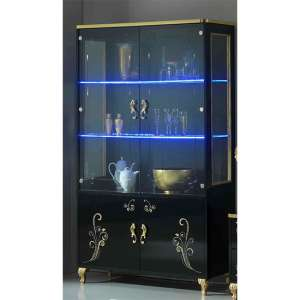 Sofina Gloss Display Cabinet In Black And Gold With 4 Doors And LED
