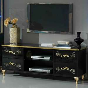 Sofina TV Stand In Black High Gloss And Gold With 4 Drawers