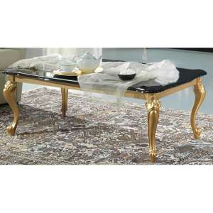 Sofina Wooden Coffee Table In Black High Gloss And Gold