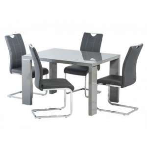 Soho Glass Top Dining Set In Grey High Gloss With 4 Oscar Chairs