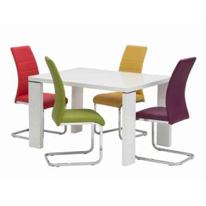 Soho Small Glass Dining Set In White Gloss 4 Multicolour Chairs