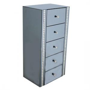 Solano Smoke Glass Chest Of Drawers With 5 Drawers