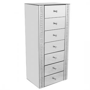 Solano Mirrored Glass Chest Of Drawers With 7 Drawers