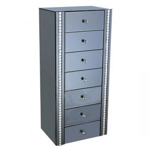 Solano Smoke Glass Chest Of Drawers With 7 Drawers