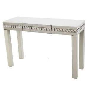 Solano Modern White Glass Console Table With Drawer