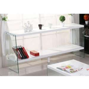 Solea Modern Display Stand In White High Gloss With Glass Legs