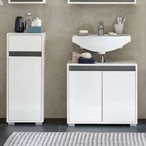 Solet Bathroom Furniture Set 17 In White High Gloss