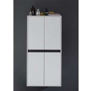 Solet Bathroom Large Storage Cabinet In White High Gloss
