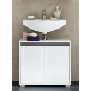 Solet Bathroom Sink Vanity Unit In White High Gloss
