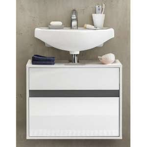Solet Bathroom Wall Hung Sink Vanity Unit In White High Gloss