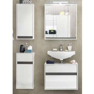 Solet LED Bathroom Furniture Set 11 In White High Gloss