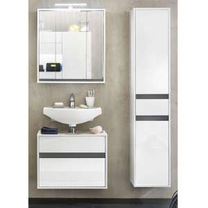 Solet LED Bathroom Furniture Set 15 In White High Gloss