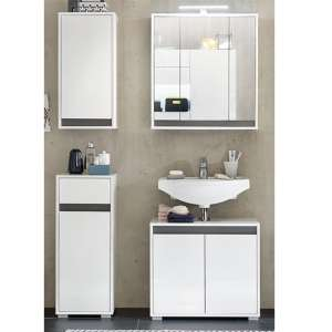 Solet LED Bathroom Furniture Set 3 In White High Gloss