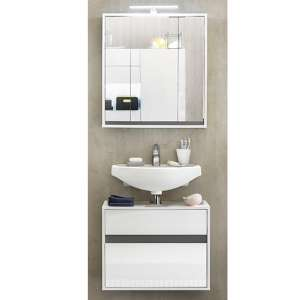 Solet LED Bathroom Furniture Set 9 In White High Gloss