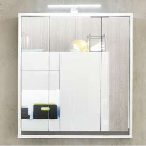 Solet LED Bathroom Mirrored Cabinet In White High Gloss