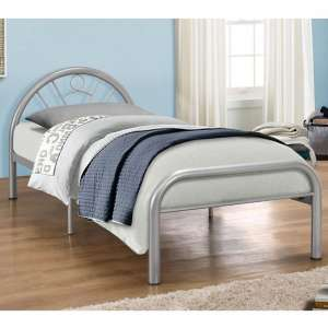 Solo Steel Single Bed In Silver