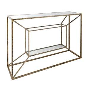 Solomon Mirrored Top Console Table In Antique Brushed Gold