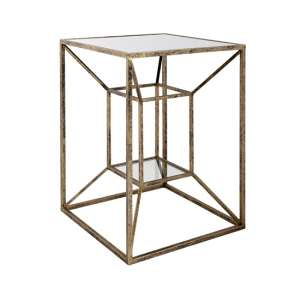 Solomon Mirrored Top Side Table In Antique Brushed Gold