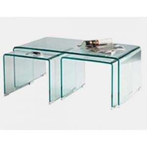 Somerset Glass Coffee Table In Clear With 2 Side Tables