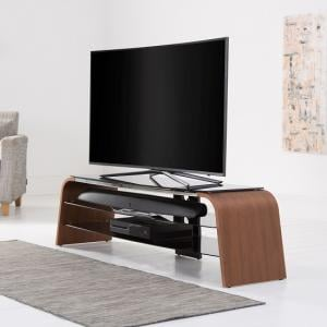 Sonic Wooden TV Stand In Walnut With Black Glass