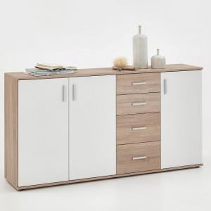 Sophia Wooden Large Sideboard In Canadian Oak And White