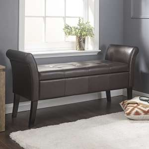 Sophie Modern Ottoman Seat In Brown Faux Leather