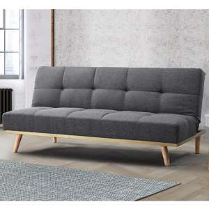 Soren Fabric Sofa Bed In Grey With Wooden Legs