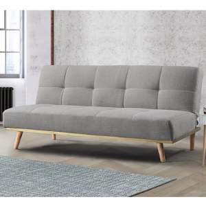Soren Fabric Sofa Bed In Light Stone Grey With Wooden Legs