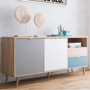 Sorio Sideboard In Sonoma Oak And Tricolor With 2 Doors