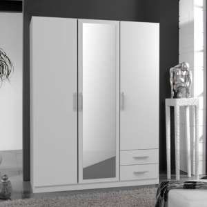 Spectral Mirrored 3 Doors Wardrobe In White With 2 Drawers