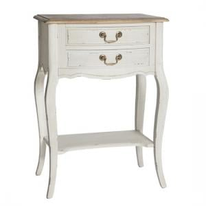 Spencer Wooden Telephone Table In White With 2 Drawers