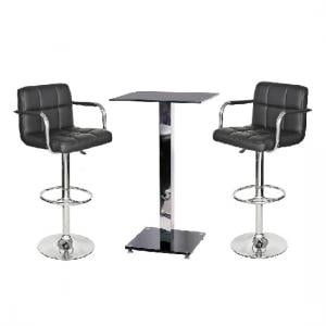 Spice Bar Table Set In Black Glass With 2 Glenn Bar Stools