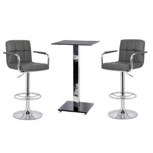 Spice Bar Table In Black Glass And 2 Glenn Grey Bar Stools
